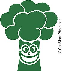 Happy Broccoli with smiling face