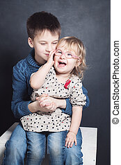 Happy Brother and Sister Laugh. Sibling Boy and Girl