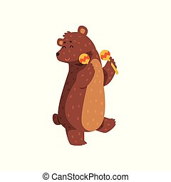 Happy brown bear dancing with maracas. Cartoon wild animal with short tail, small rounded ears and paws with claws. Flat vector for greeting card, sticker, children book