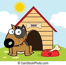 Happy Brown Bull Terrier Sitting By