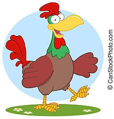 Happy Brown Chicken Walking