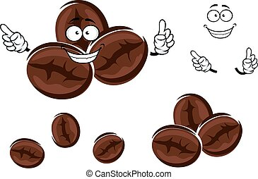 Happy brown coffee beans character