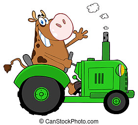 Happy Brown Cow - Cow Farmer Waving And Driving A Green...