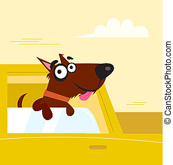 Happy brown dog travel in the car - Smiling cute dog in...
