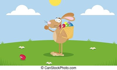 Happy Brown Easter Rabbit Running With A Basket And Egg. 4K Animation Video Motion Graphics With Landscape Background