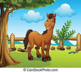 Happy brown horse inside a fence