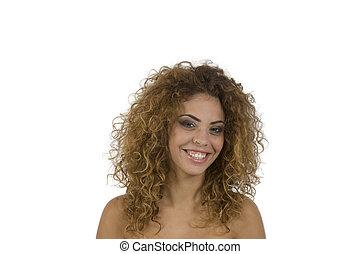 happy brunette lady