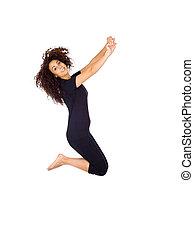 Happy Brunette Woman Jumping