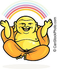 Happy Buddha Rainbow - Buddhist Monk in meditation pose with...