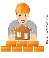 happy builder with house in hands