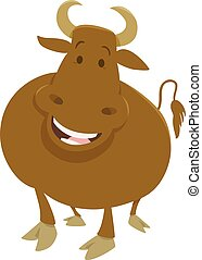 happy bull farm animal - Cartoon Illustration of Happy Bull...