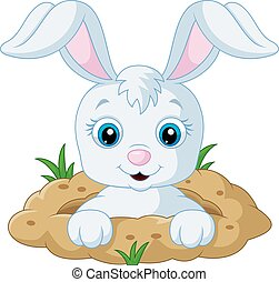 Happy bunny cartoon in the hole - Vector illustration of...