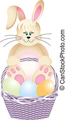 Happy bunny in basket with easter e