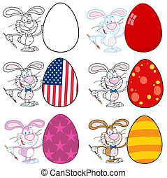 Happy Bunny Painting An Easter Egg