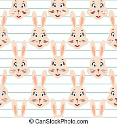 Happy bunny pink seamless vector striped pattern.