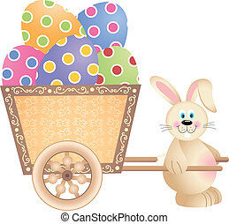 Happy Bunny Pushing Easter Cart - Scalable vectorial image...