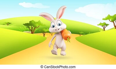 Happy bunny with carrot - White bunny is walking with carrot