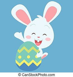Happy bunny with easter egg