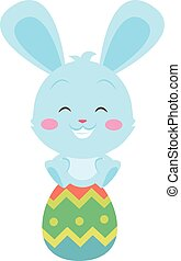 Happy bunny with egg easter theme