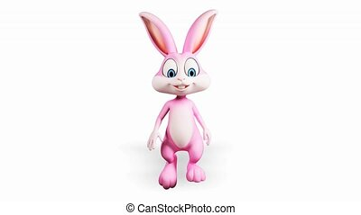 Happy bunny with walking - Pink bunny is walking with alpha...