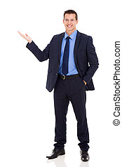 happy business executive presenting on white background