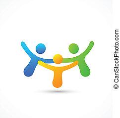 Happy business friends logo vector