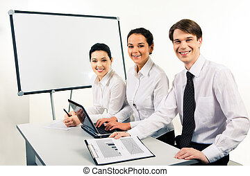 Happy business group - Photo of cheerful business people...