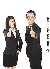 happy business man and woman with thumbs up