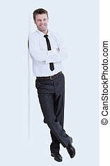 Happy business man arms folded isolated on white.