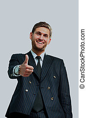 happy business man going thumbs up, isolated on white.
