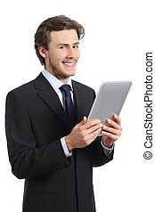 Happy business man holding a tablet reader