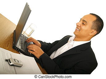 Happy Business Man Typing