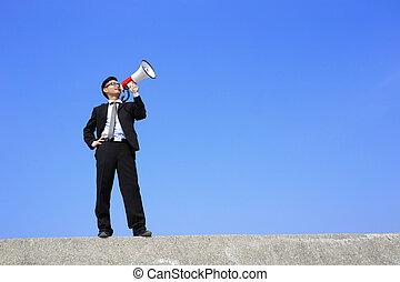 business man using megaphone