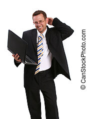 happy business man with lap top
