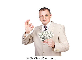 Happy  business man with  money