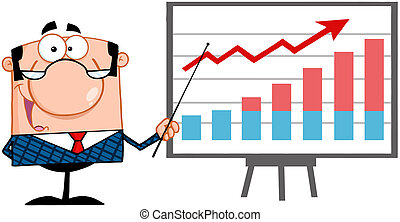 Happy Business Manager With Pointer Presenting A Progressive Chart