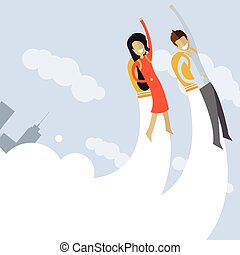 Happy business mans and woman flying on jetpacks to their goals
