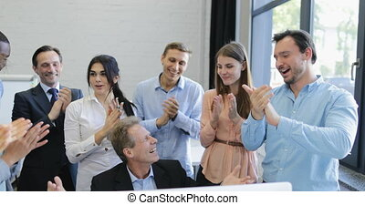 Happy Business People Group Clapping Hands Congradulating...