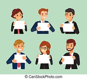happy business people holding a blank white sign board vector cartoon