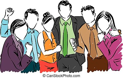 happy business people illustration