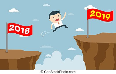 Happy Business People Jumping from Year to New Year