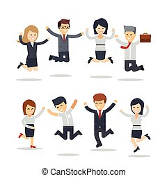 Happy business people jumping. Team work.Group of businessmen