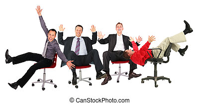 happy business people on chairs