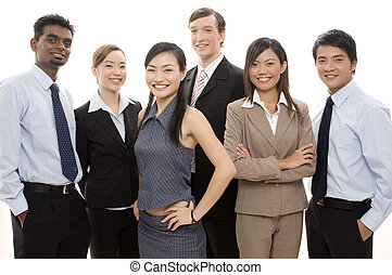 Happy Business Team 3 - A smiling business team of different...