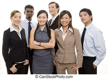 Happy Business Team - A group of diverse individuals make up...