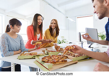 happy business team eating pizza in office - business, food...