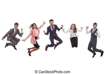 business team group jumping for success