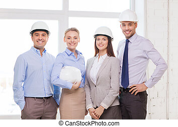 happy business team in office - business, architecture and...
