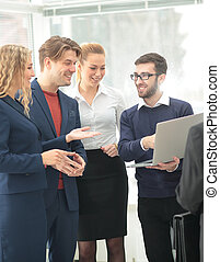 Happy business team planning work together