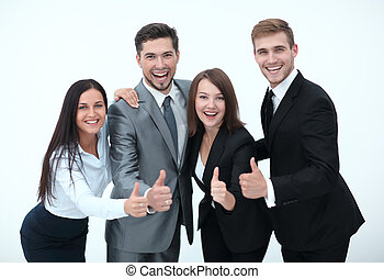 happy business team showing thumb up.isolated on a white...